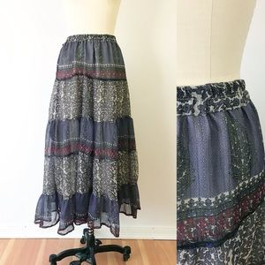 Vintage Solitaire Boho Hippie Maxi Skirt Purple M